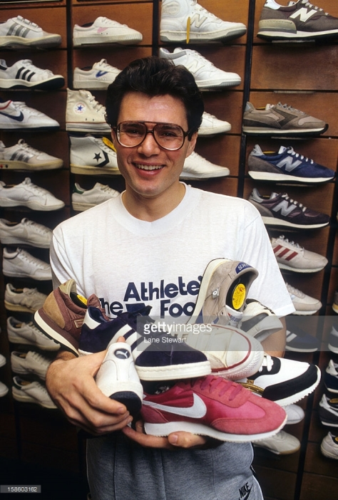 SI Writer & Reporter: Portrait of Armen Keteyian posing with sneakers during photo shoot in a shoe store. New York, NY 1/11/1984 CREDIT: Lane Stewart (Photo by Lane Stewart /Sports Illustrated/Getty Images) (Set Number: X29513 TK1 R3 F5 )