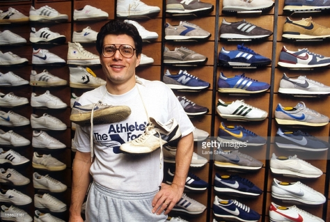 SI Writer & Reporter: Portrait of Armen Keteyian posing with sneakers during photo shoot in a shoe store. New York, NY 1/11/1984 CREDIT: Lane Stewart (Photo by Lane Stewart /Sports Illustrated/Getty Images) (Set Number: X29513 TK1 R2 F10 )