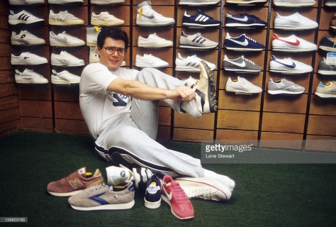 SI Writer & Reporter: Portrait of Armen Keteyian posing with sneakers during photo shoot in a shoe store. New York, NY 1/11/1984 CREDIT: Lane Stewart (Photo by Lane Stewart /Sports Illustrated/Getty Images) (Set Number: X29513 TK1 R1 F7 )